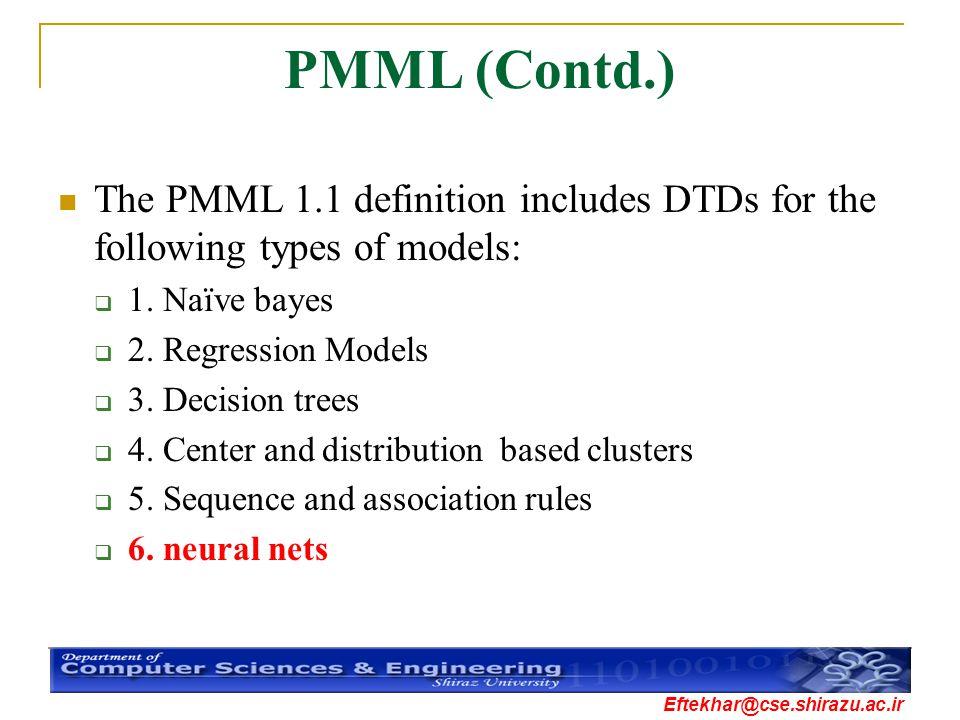 Eftekhar@cse.shirazu.ac.ir PMML (Contd.) The PMML 1.1 definition includes DTDs for the following types of models:  1. Naïve bayes  2. Regression Mod