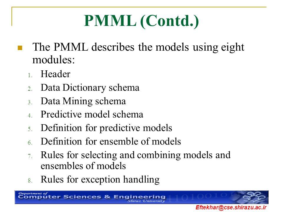 Eftekhar@cse.shirazu.ac.ir PMML (Contd.) The PMML describes the models using eight modules: 1. Header 2. Data Dictionary schema 3. Data Mining schema