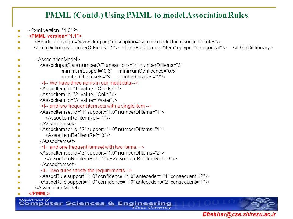 Eftekhar@cse.shirazu.ac.ir PMML (Contd.) Using PMML to model Association Rules <AssocInputStats numberOfTransactions=