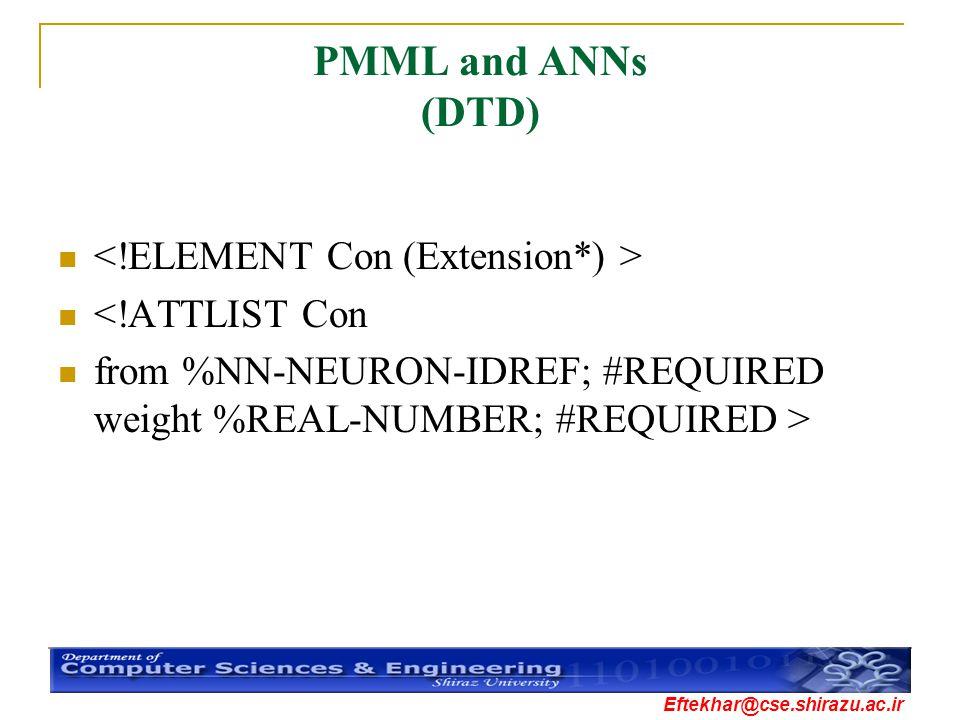 Eftekhar@cse.shirazu.ac.ir PMML and ANNs (DTD) <!ATTLIST Con from %NN-NEURON-IDREF; #REQUIRED weight %REAL-NUMBER; #REQUIRED >
