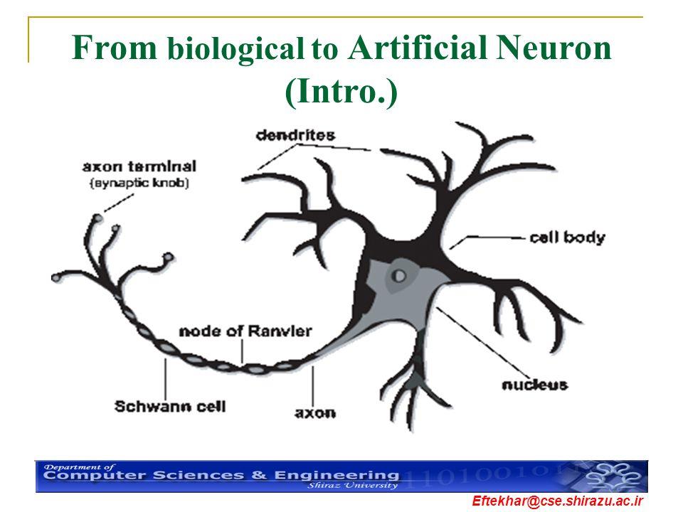 Eftekhar@cse.shirazu.ac.ir From biological to Artificial Neuron (Intro.)