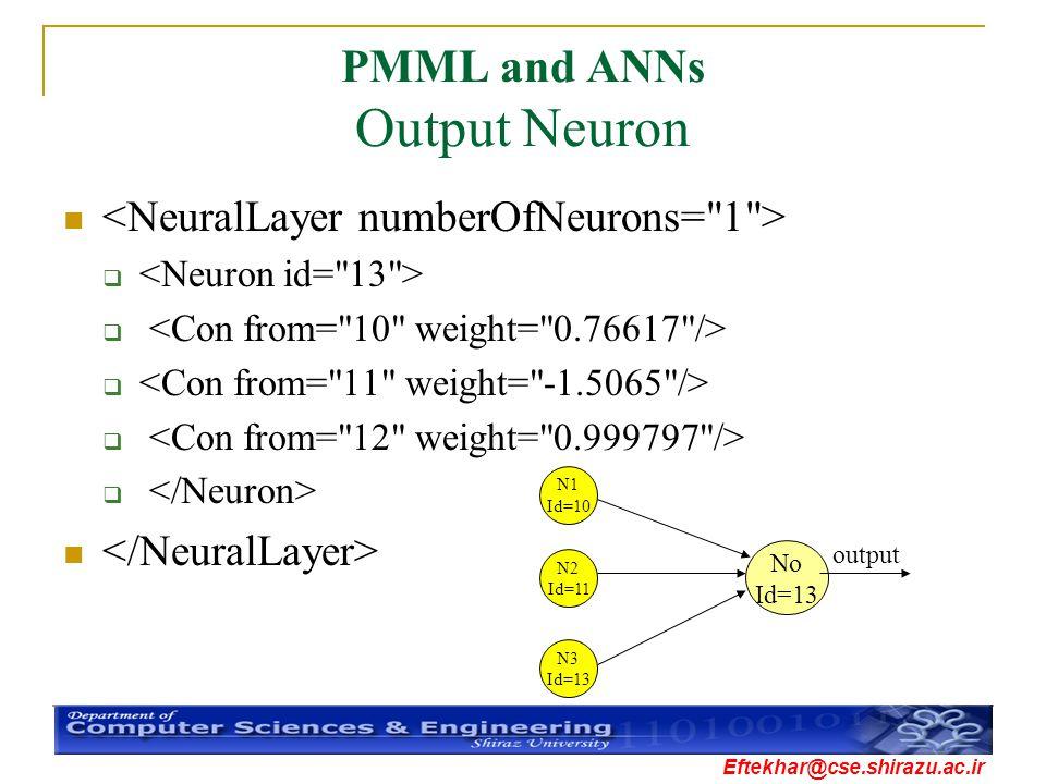 Eftekhar@cse.shirazu.ac.ir PMML and ANNs Output Neuron  N1 Id=10 N2 Id=11 N3 Id=13 No Id=13 output