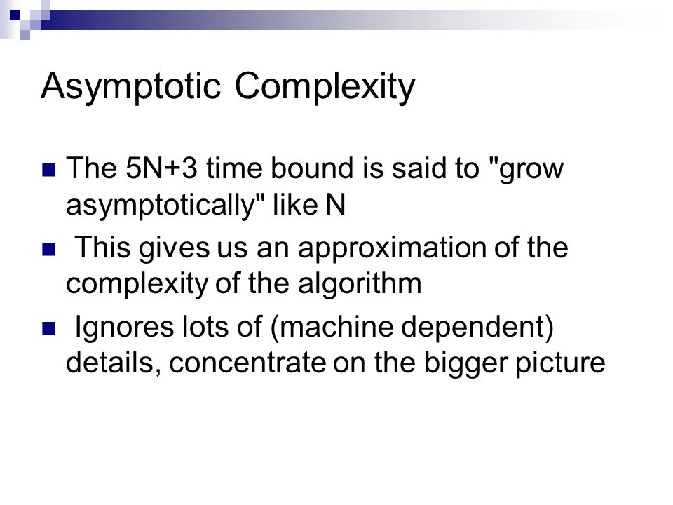 Asymptotic Complexity The 5N+3 time bound is said to