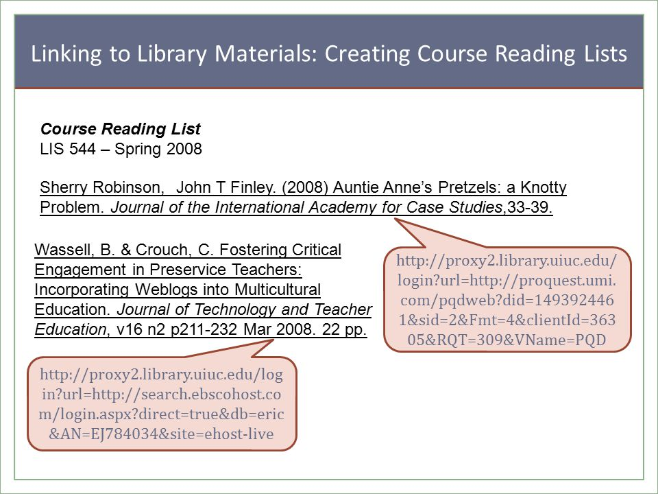 Linking to Library Materials: Creating Course Reading Lists Sherry Robinson, John T Finley.