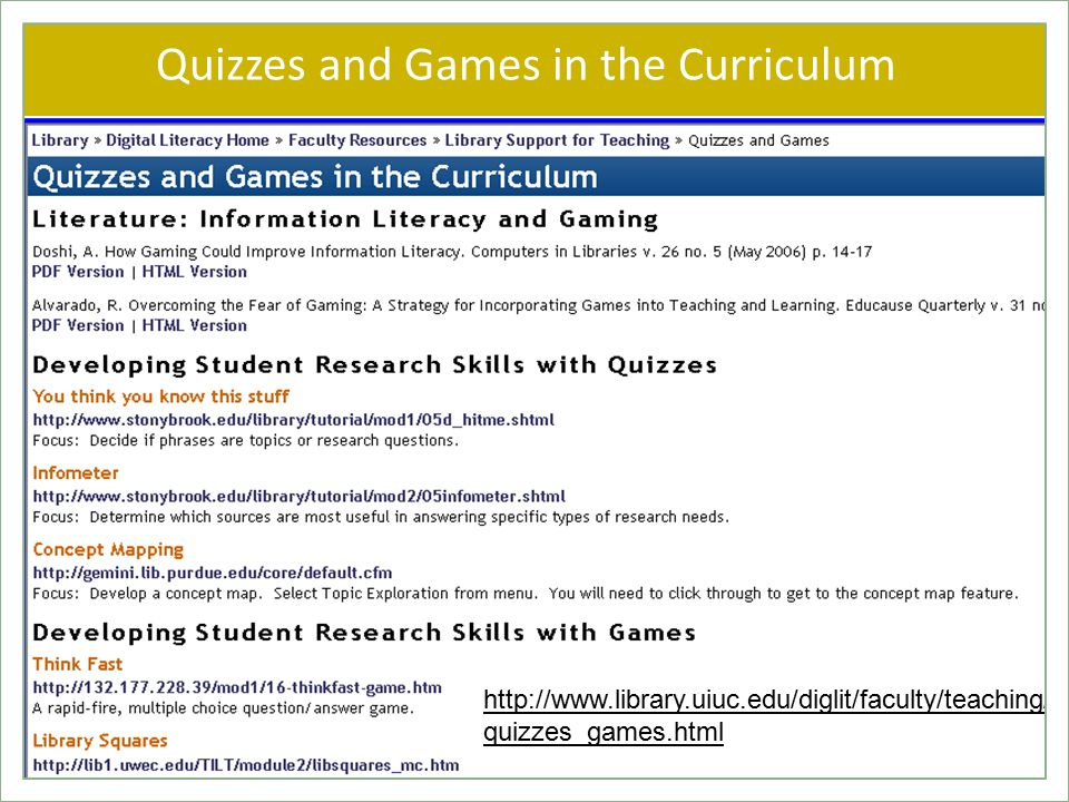 Quizzes and Games in the Curriculum   quizzes_games.html