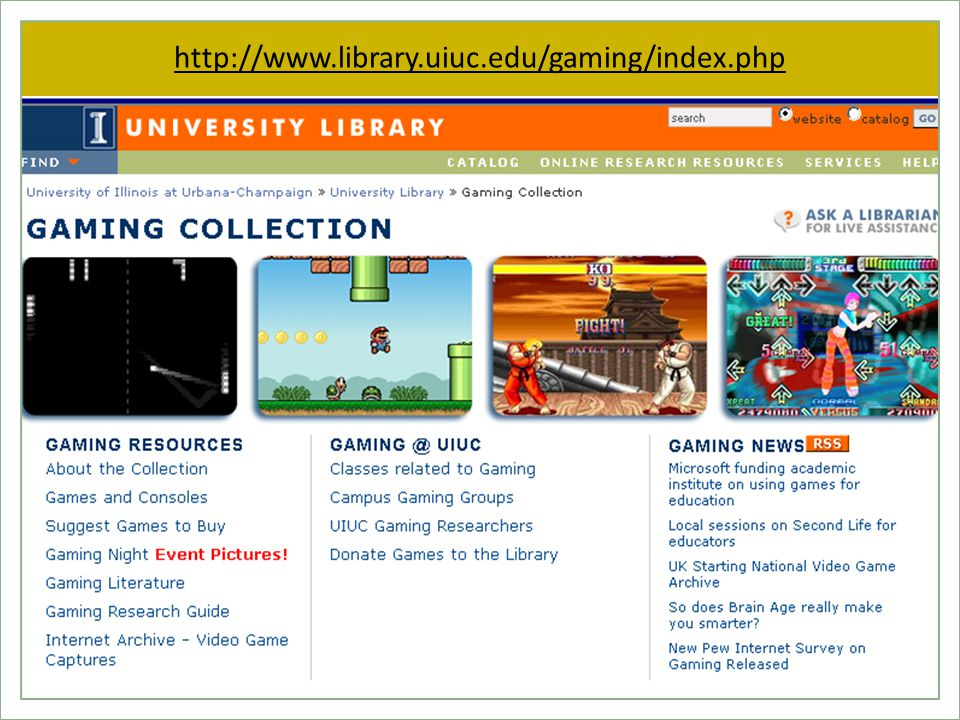 http://www.library.uiuc.edu/gaming/index.php