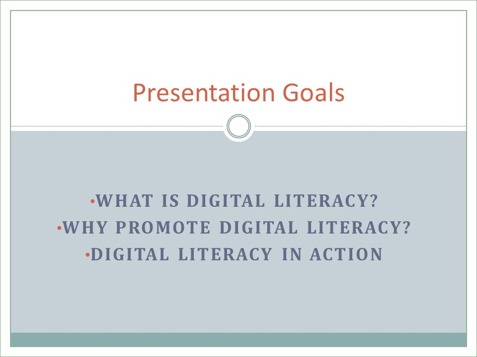 WHAT IS DIGITAL LITERACY. WHY PROMOTE DIGITAL LITERACY.