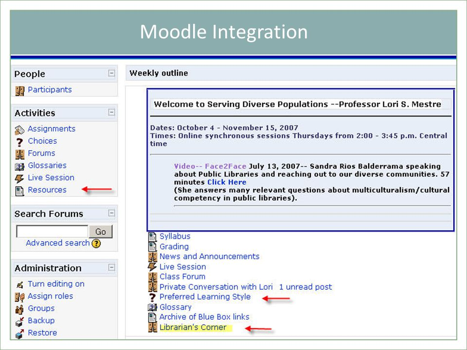 Moodle Integration