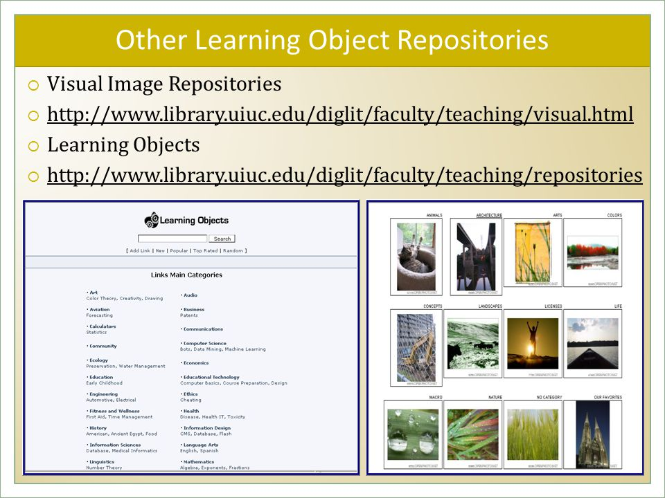 Other Learning Object Repositories  Visual Image Repositories  http://www.library.uiuc.edu/diglit/faculty/teaching/visual.html http://www.library.uiuc.edu/diglit/faculty/teaching/visual.html  Learning Objects  http://www.library.uiuc.edu/diglit/faculty/teaching/repositories http://www.library.uiuc.edu/diglit/faculty/teaching/repositories  Visual Image Repositories  http://www.library.uiuc.edu/diglit/faculty/teaching/visual.html http://www.library.uiuc.edu/diglit/faculty/teaching/visual.html  Learning Objects  http://www.library.uiuc.edu/diglit/faculty/teaching/repositories http://www.library.uiuc.edu/diglit/faculty/teaching/repositories