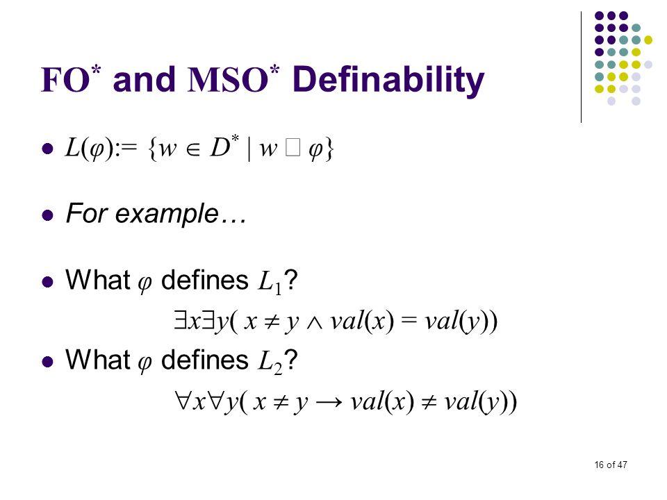 16 of 47 FO * and MSO * Definability L(φ):= {w  D * | w  φ} For example… What φ defines L 1 ?  x  y( x  y  val(x) = val(y)) What φ defines L 2 ?