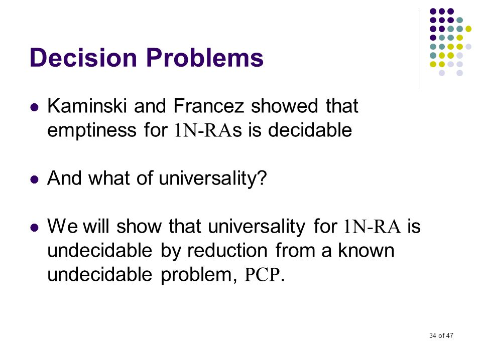 34 of 47 Decision Problems Kaminski and Francez showed that emptiness for 1N-RA s is decidable And what of universality.