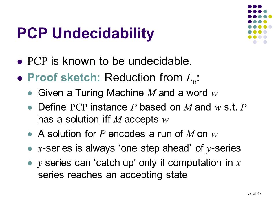 37 of 47 PCP Undecidability PCP is known to be undecidable.