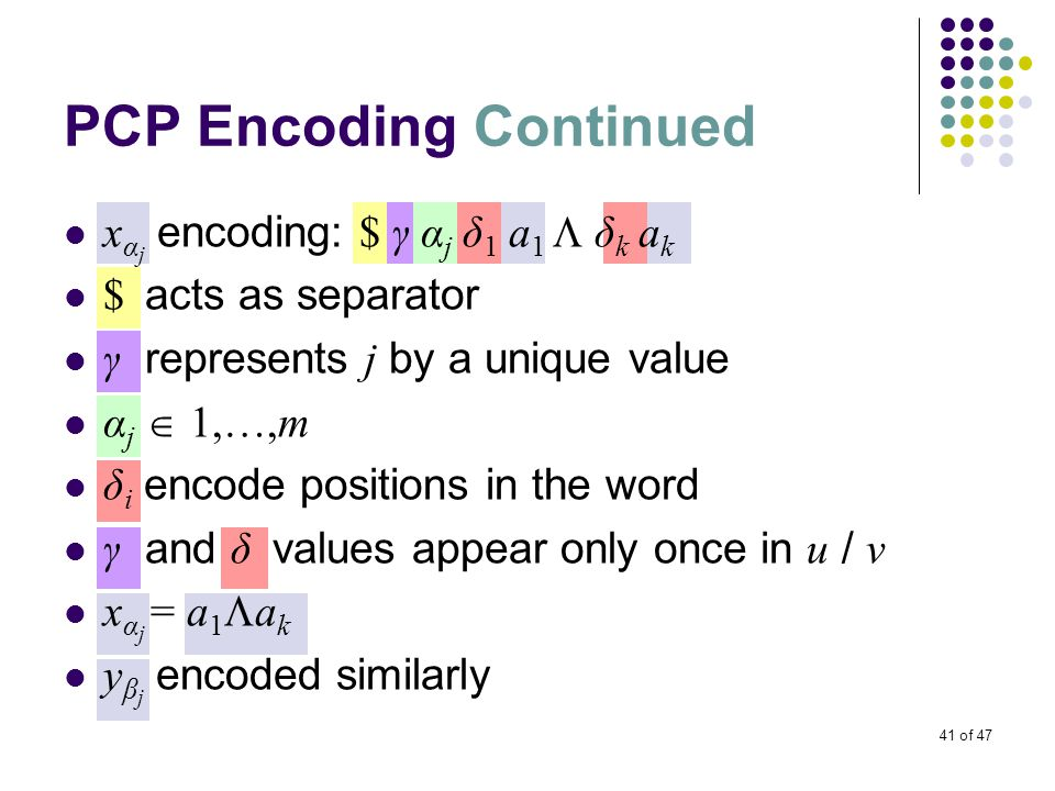41 of 47 PCP Encoding Continued x α j encoding: $ γ α j δ 1 a 1  δ k a k $ acts as separator γ represents j by a unique value α j  1,…,m δ i encode positions in the word γ and δ values appear only once in u / v x α j = a 1  a k y β j encoded similarly
