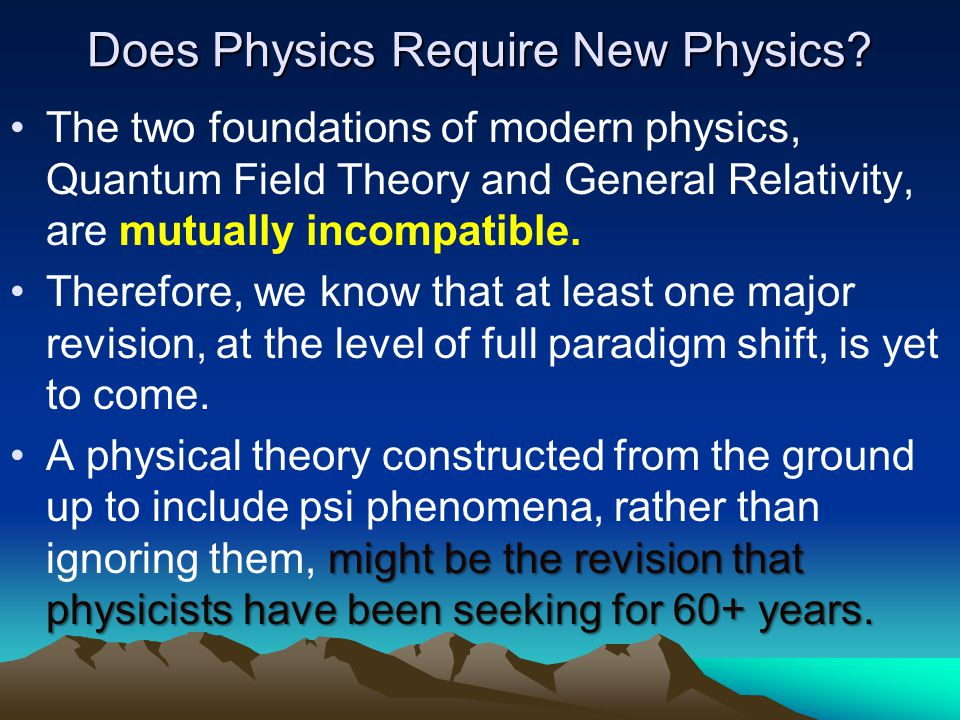 Does Physics Require New Physics.