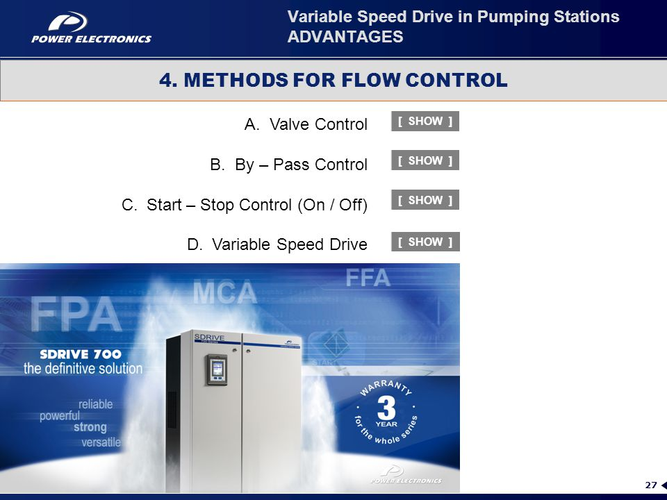 27 Variable Speed Drive in Pumping Stations ADVANTAGES A.Valve Control B.By – Pass Control C.Start – Stop Control (On / Off) D.Variable Speed Drive 4.
