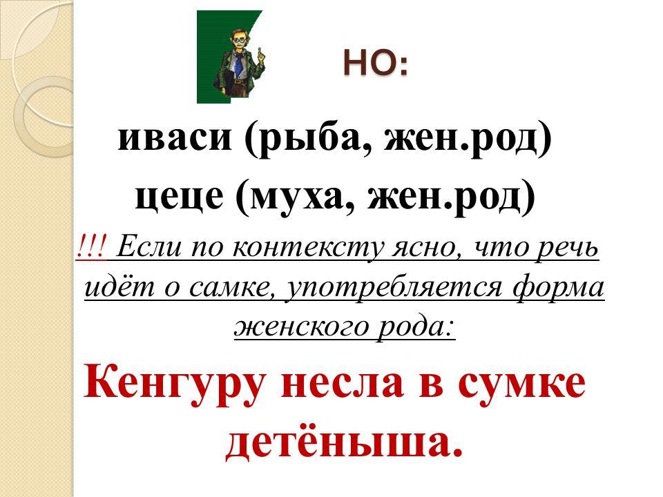 НО : иваси (рыба, жен.род) цеце (муха, жен.род) !!! Если по контексту ясно, что речь идёт о самке, употребляется форма женского рода: Кенгуру несла в