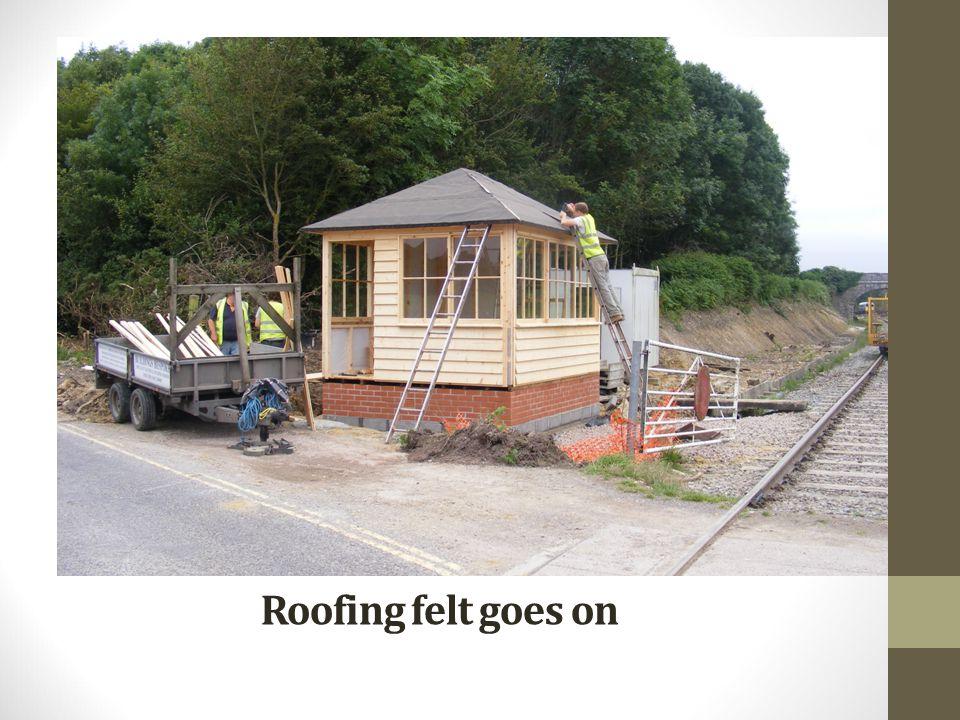 Roofing felt goes on