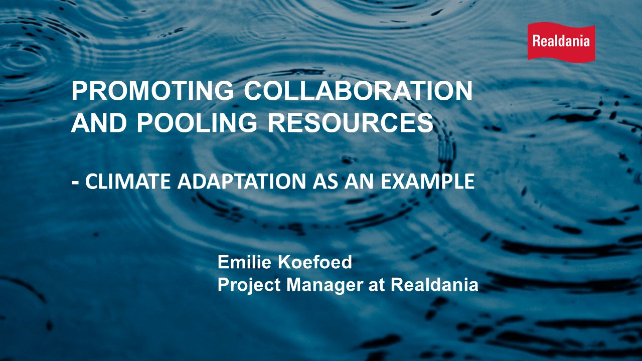 Emilie Koefoed Project Manager at Realdania PROMOTING COLLABORATION AND POOLING RESOURCES - CLIMATE ADAPTATION AS AN EXAMPLE