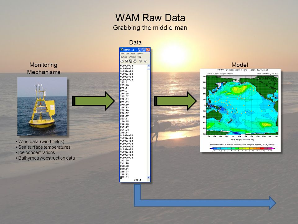 WAM Raw Data Grabbing the middle-man Monitoring Mechanisms Data Model Wind data (wind fields) Sea surface temperatures Ice concentrations Bathymetry/obstruction data