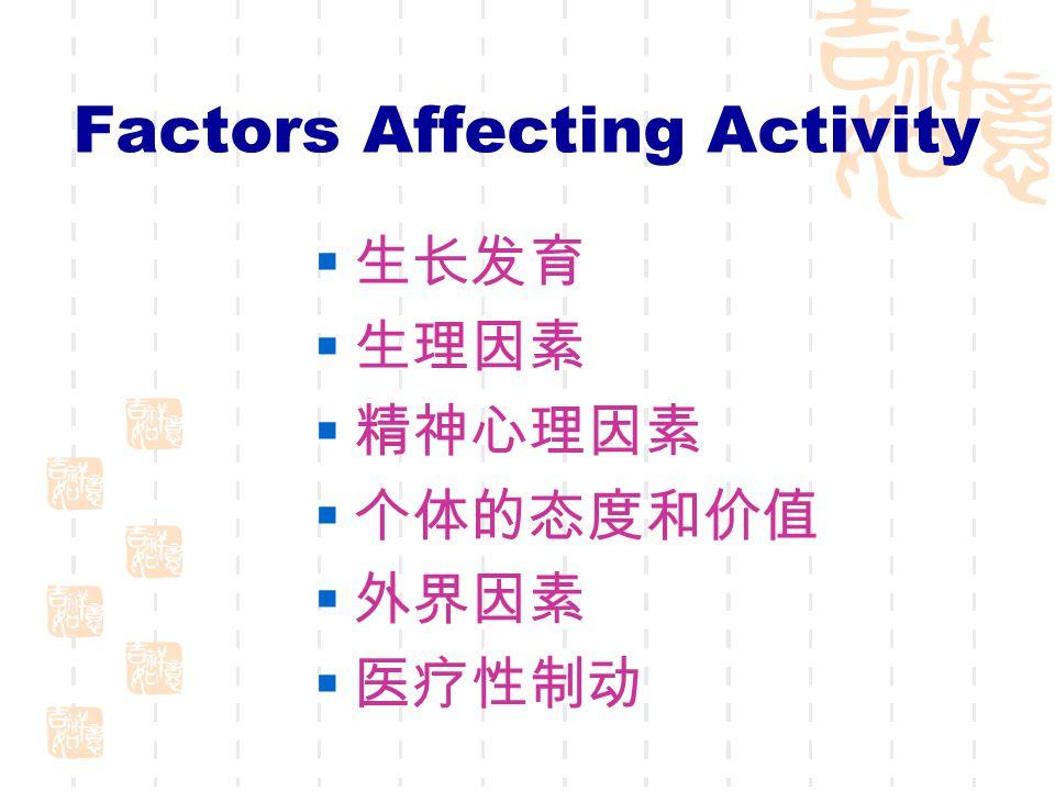 Factors Affecting Activity  生长发育  生理因素  精神心理因素  个体的态度和价值  外界因素  医疗性制动