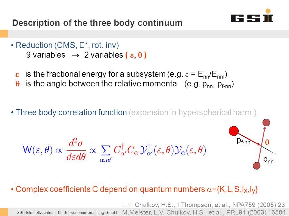 GSI Helmholtzzentrum für Schwerionenforschung GmbH p nn p f-nn  Description of the three body continuum Reduction (CMS, E*, rot. inv) 9 variables  2