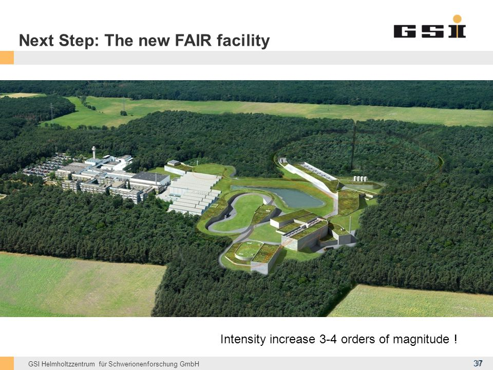GSI Helmholtzzentrum für Schwerionenforschung GmbH Next Step: The new FAIR facility Intensity increase 3-4 orders of magnitude ! 37