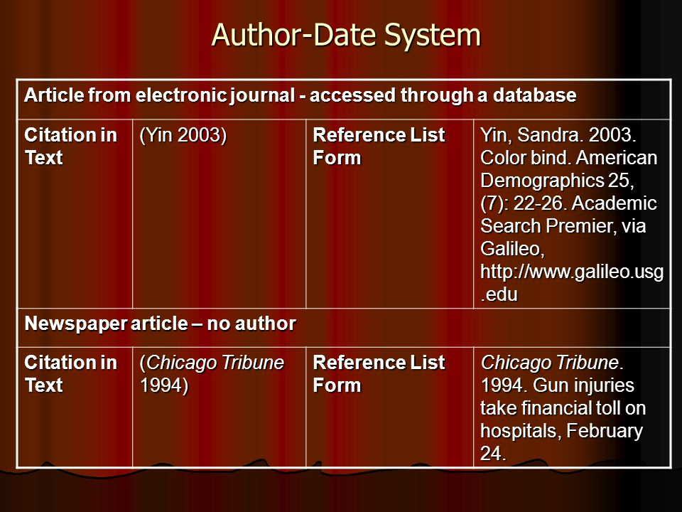 Author-Date System Article from electronic journal - accessed through a database Citation in Text (Yin 2003) Reference List Form Yin, Sandra.