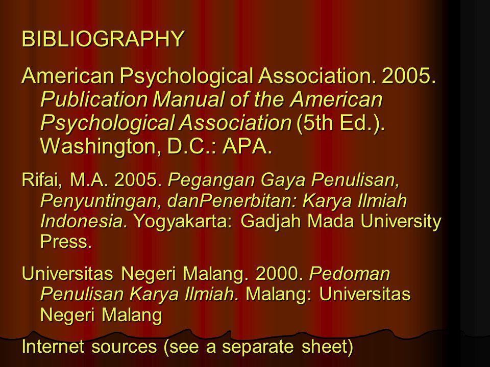 BIBLIOGRAPHY American Psychological Association.2005.