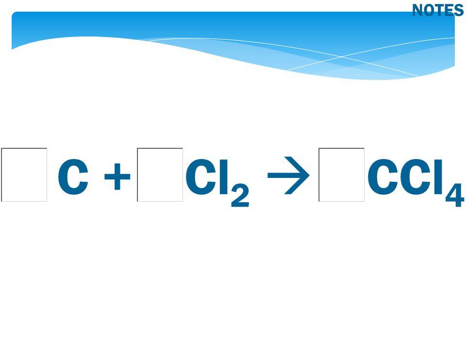C + Cl 2  CCl 4 NOTES