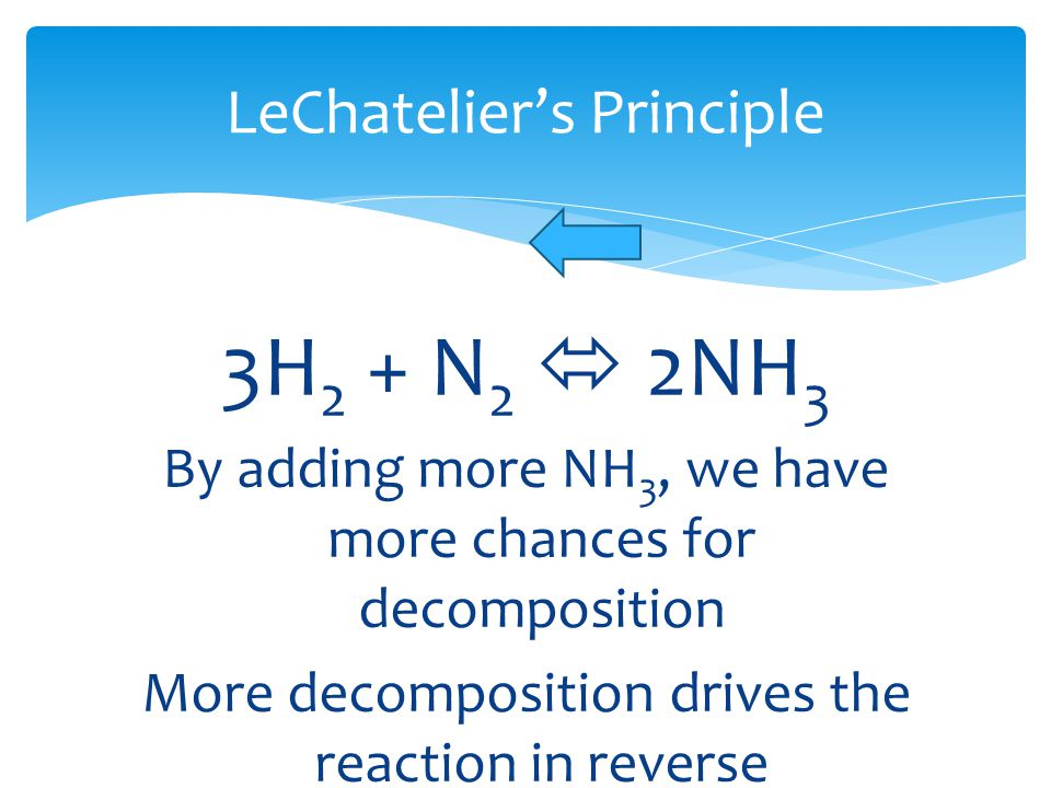 LeChatelier's Principle 3H 2 + N 2  2NH 3 By adding more NH 3, we have more chances for decomposition More decomposition drives the reaction in rever