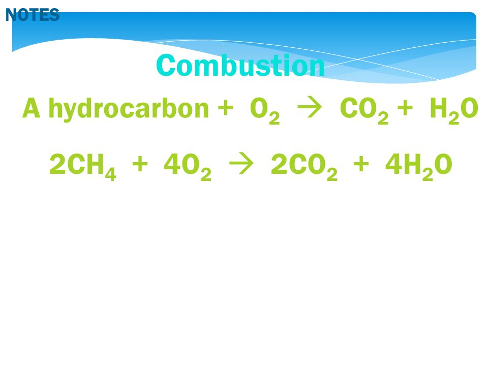 Combustion A hydrocarbon + O 2  CO 2 + H 2 O 2CH 4 + 4O 2  2CO 2 + 4H 2 O NOTES