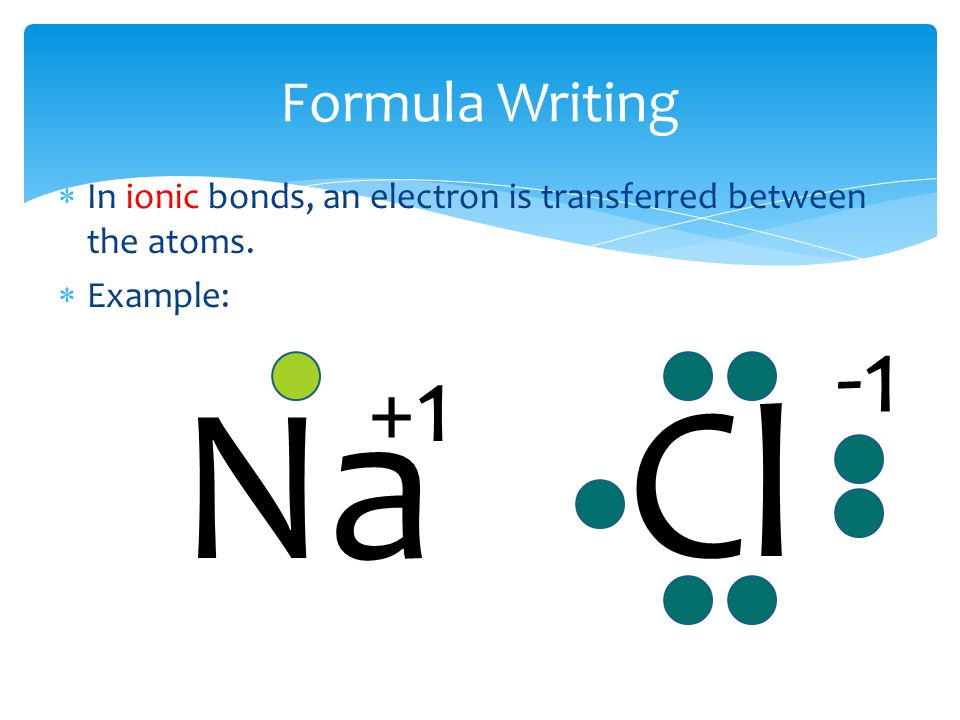 Formula Writing  In ionic bonds, an electron is transferred between the atoms.