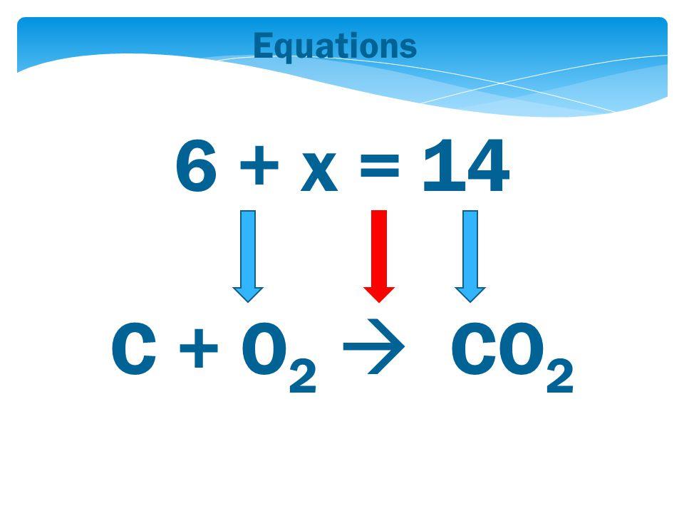 Equations 6 + x = 14 C + O 2  CO 2