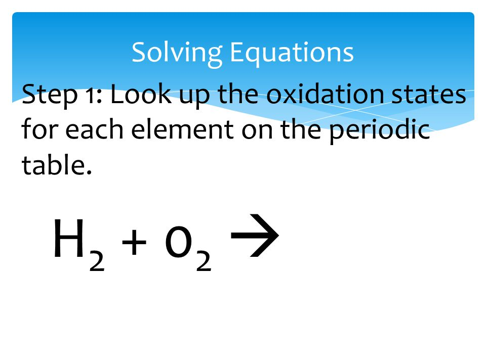 Solving Equations H 2 + 0 2  Step 1: Look up the oxidation states for each element on the periodic table.