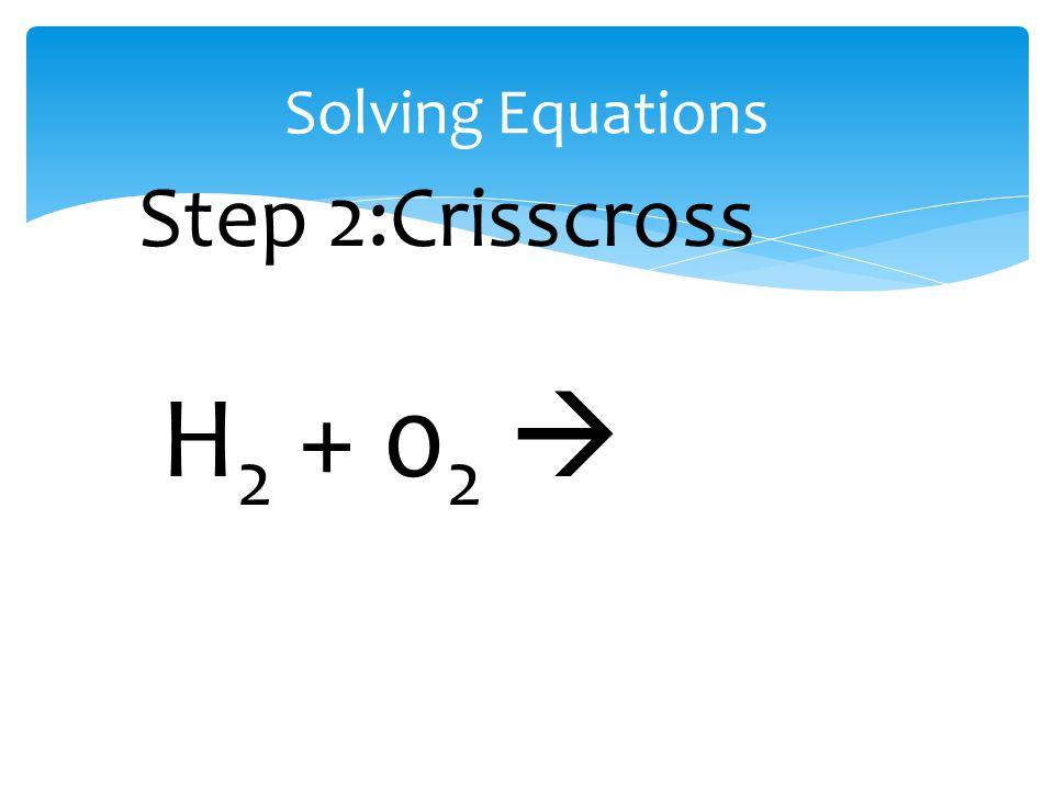 Solving Equations H 2 + 0 2  Step 2:Crisscross