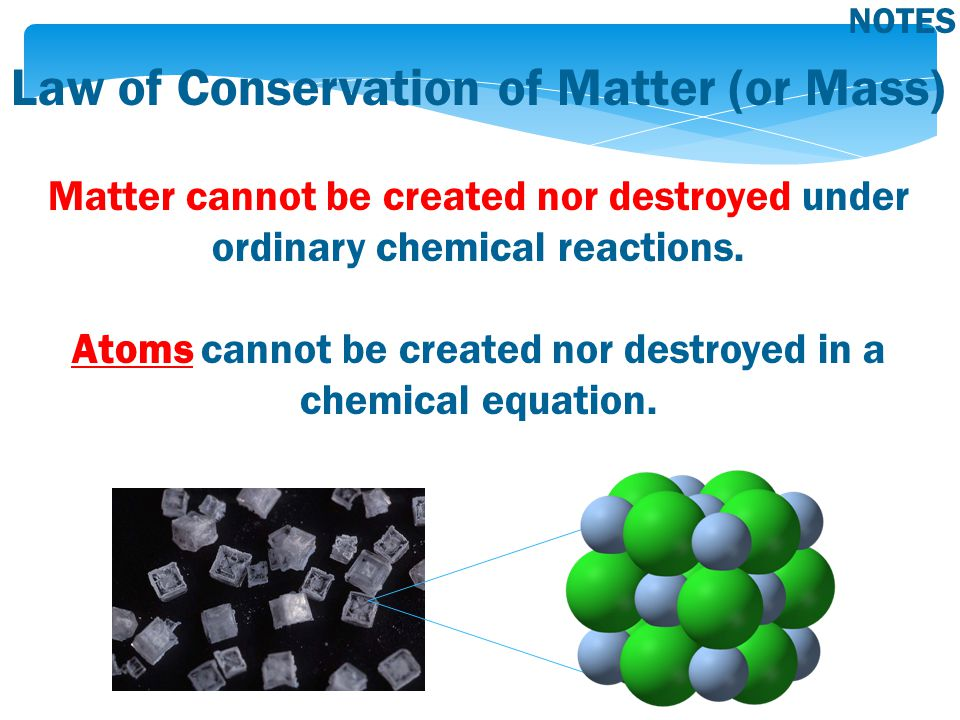 Law of Conservation of Matter (or Mass) Matter cannot be created nor destroyed under ordinary chemical reactions.