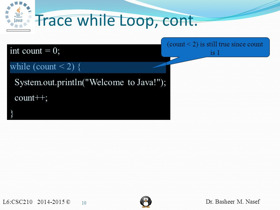 L6:CSC210 2014-2015 © Dr. Basheer M. Nasef 10 Trace while Loop, cont.