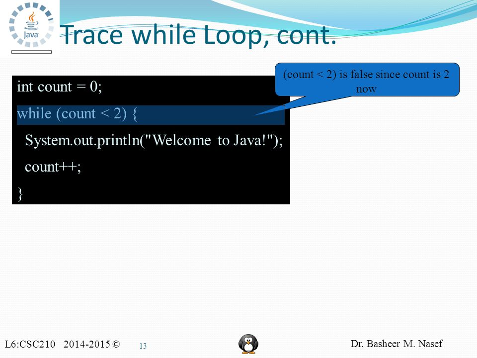 L6:CSC210 2014-2015 © Dr. Basheer M. Nasef 13 Trace while Loop, cont.