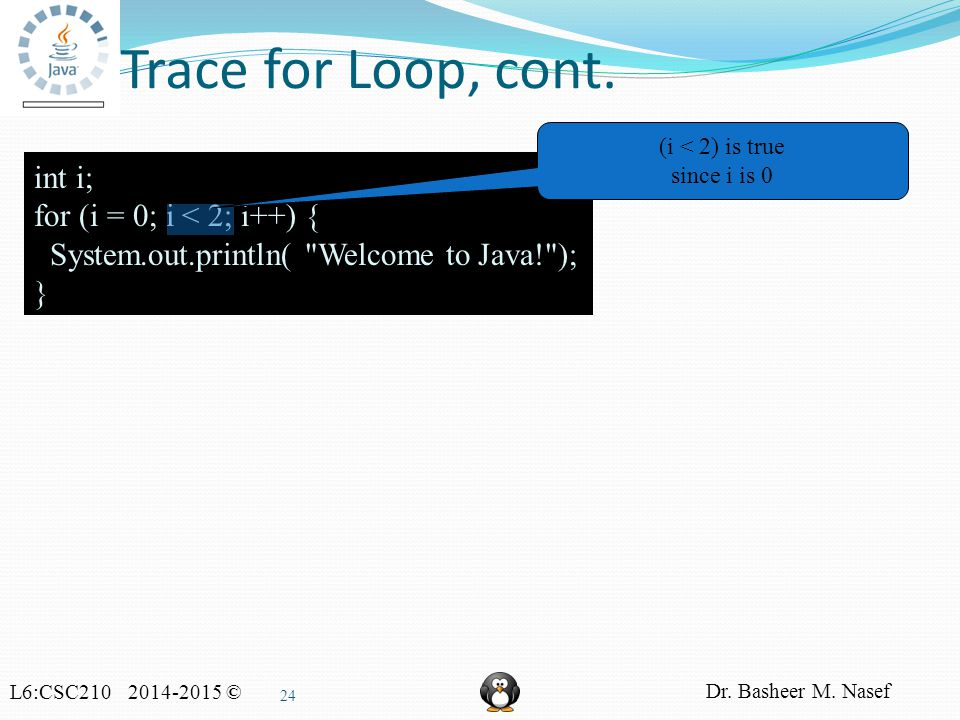 L6:CSC210 2014-2015 © Dr. Basheer M. Nasef 24 Trace for Loop, cont.