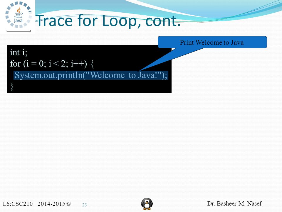 L6:CSC210 2014-2015 © Dr. Basheer M. Nasef 25 Trace for Loop, cont.