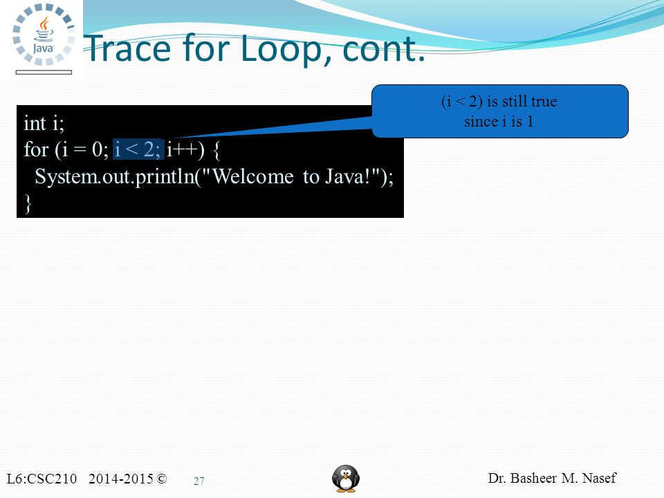 L6:CSC210 2014-2015 © Dr. Basheer M. Nasef 27 Trace for Loop, cont.