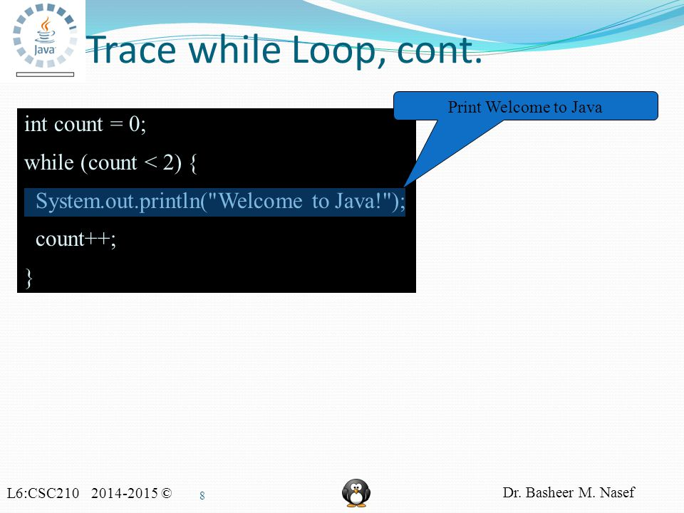 L6:CSC210 2014-2015 © Dr. Basheer M. Nasef 8 Trace while Loop, cont.