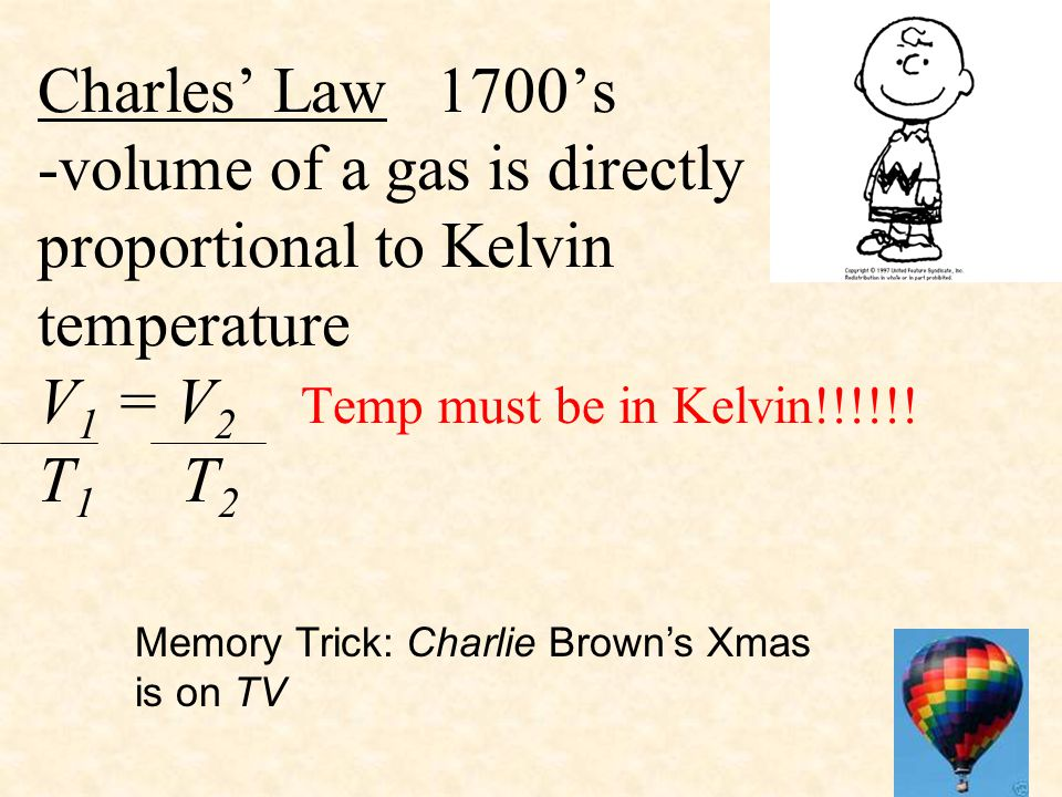 Charles' Law 1700's -volume of a gas is directly proportional to Kelvin temperature V 1 = V 2 Temp must be in Kelvin!!!!!! T 1 T 2 Memory Trick: Charl