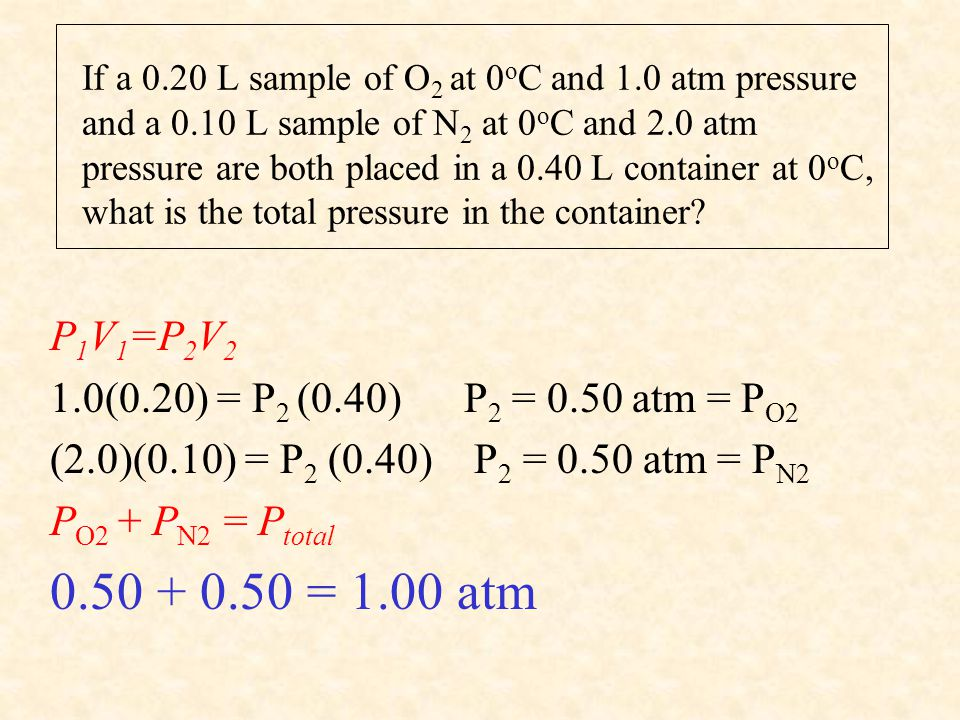 If a 0.20 L sample of O 2 at 0 o C and 1.0 atm pressure and a 0.10 L sample of N 2 at 0 o C and 2.0 atm pressure are both placed in a 0.40 L container