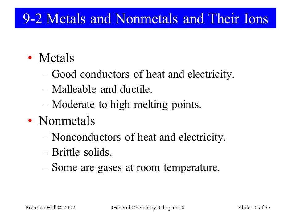 Prentice-Hall © 2002General Chemistry: Chapter 10Slide 10 of 35 9-2 Metals and Nonmetals and Their Ions Metals –Good conductors of heat and electricity.