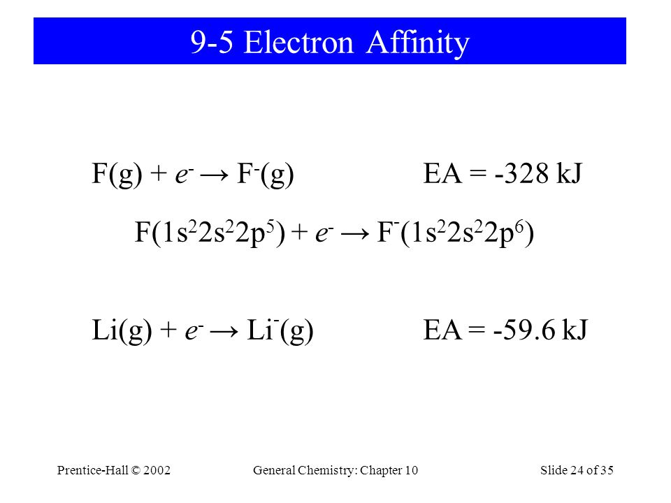Prentice-Hall © 2002General Chemistry: Chapter 10Slide 24 of 35 9-5 Electron Affinity F(g) + e - → F - (g) EA = -328 kJ F(1s 2 2s 2 2p 5 ) + e - → F -