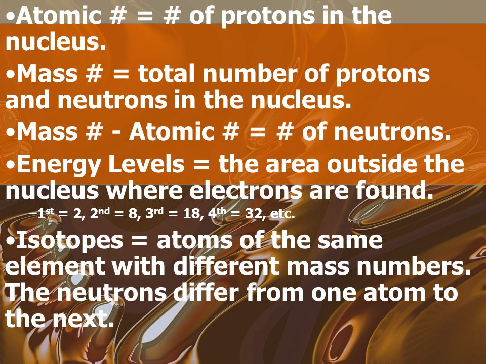 Atomic # = # of protons in the nucleus.
