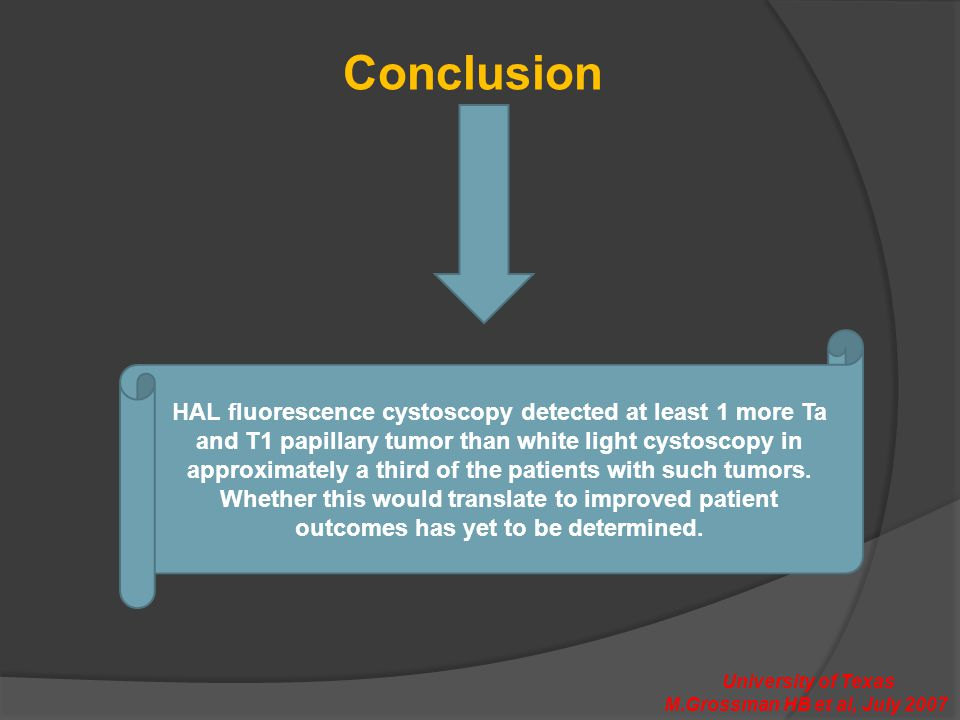 Conclusion HAL fluorescence cystoscopy detected at least 1 more Ta and T1 papillary tumor than white light cystoscopy in approximately a third of the patients with such tumors.