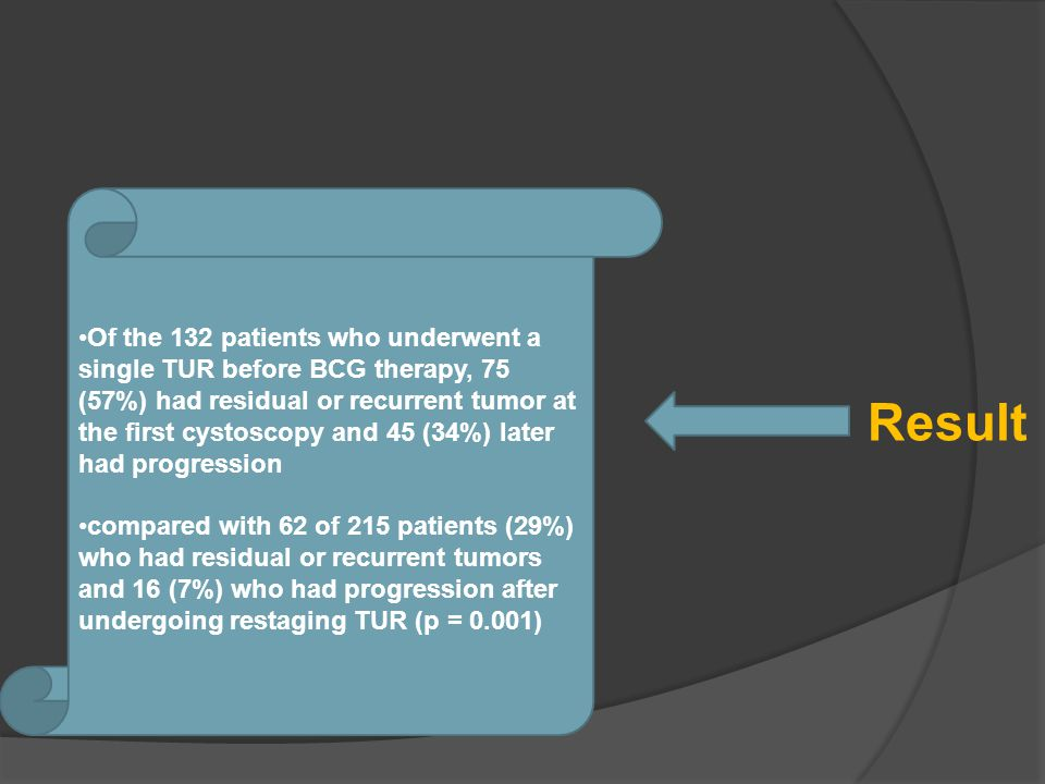 Result Of the 132 patients who underwent a single TUR before BCG therapy, 75 (57%) had residual or recurrent tumor at the first cystoscopy and 45 (34%) later had progression compared with 62 of 215 patients (29%) who had residual or recurrent tumors and 16 (7%) who had progression after undergoing restaging TUR (p = 0.001)