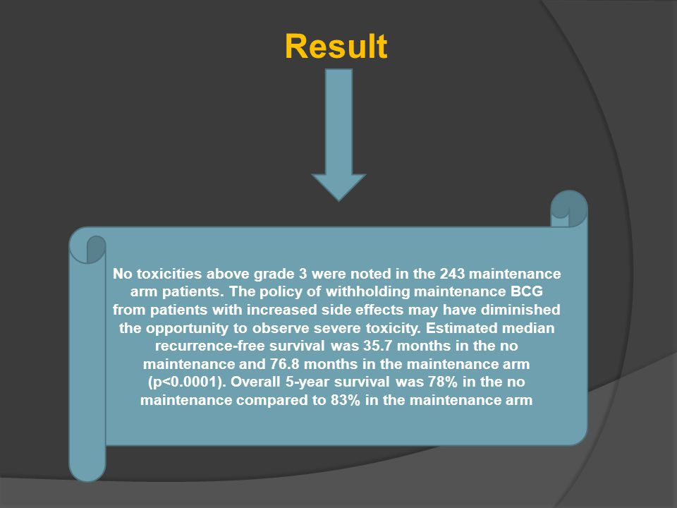 Result No toxicities above grade 3 were noted in the 243 maintenance arm patients.